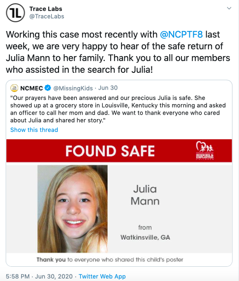 Tweet from Trace Labs reposting from NCMEC about a missing girl who was found safe partly due to Trace Labs and community efforts.